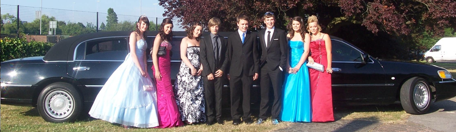 Teens in front of a Limousine